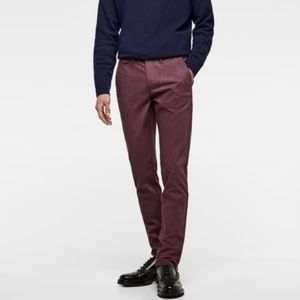 Zara 34 stretch chino slim pants in maroon